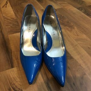 Rampage Shoes - Rampage Cobalt Blue Patent Leather Pumps, Size 9